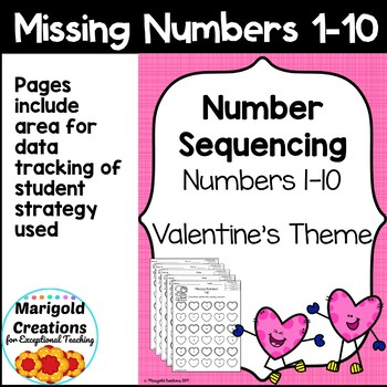 Valentine's Day Number Sequencing Missing Numbers 1-10