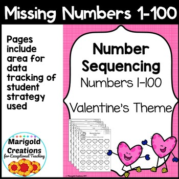 Valentine's Day Number Sequencing Missing Numbers 1-100