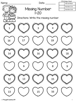 Valentine's Day Number Sequencing Missing Numbers 1-20