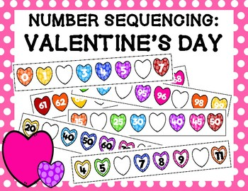 Valentine's Day Number Sequencing Strips