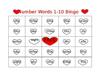 Valentine's Day Numbers 1-10 Bingo