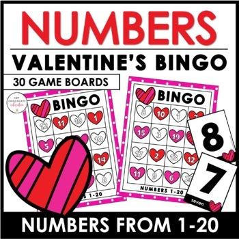 Valentine's Day Numbers 1-20 Bingo Game