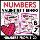 Valentine's Day Number Recognition 1-20 Bingo Game