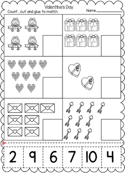 Valentine's Day Numbers Cut and Paste Worksheets:
