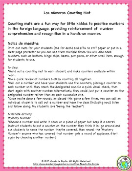 Valentine's Day Numbers Game & 1-10 Counting Mat in Spanish