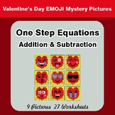 Valentine's Day: One Step Equation - Addition & Subtraction - Mystery Pictures