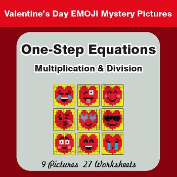 Valentine's Day: One Step Equations Multiplication & Division - Math Mystery Pictures