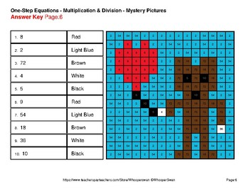 One Step Equations Multiplication & Division - Valentine's Math Mystery Pictures
