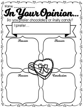 Valentine's Day Opinion Graphic Organizer + Final Draft Page