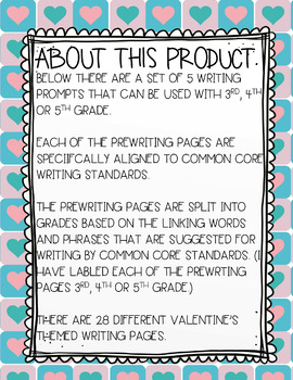 Valentine's Day Opinion Writing Prompts and Themed Writing Paper--3rd, 4th, 5th
