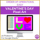 Valentine's Day Order of Operations Easy Pixel Art Activit