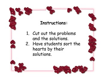 Valentine's Day Order of Operations Fraction Bar