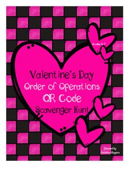 Valentine's Day Order of Operations - QR Code Scavenger Hunt