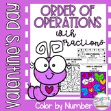 Valentine's Day Order of Operations with Fractions Color by Number