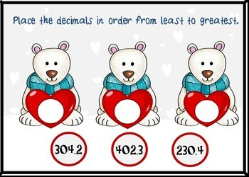 Valentine's Day Ordering Decimals Digital BOOM Cards - 24 Self-checking cards!