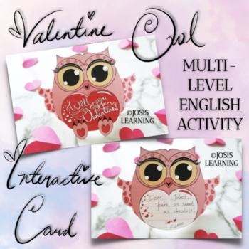 Valentine's Day Interactive Owl Card: Multi-Level English Activity