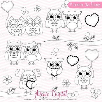 Valentine's Day Owl Stamps Scrapbook printable, digital stamp set coloring page