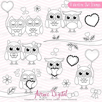 Valentine's Day Owl Stamps Scrapbook printable, digital st