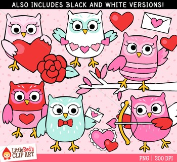 Valentine's Day Owls Clipart