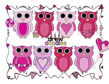 Valentine's Day Owls + Frame Clip Art