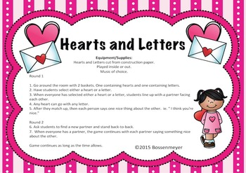 Valentine's Day P.E. & Classroom Party Games:  SAMPLE