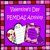 Valentine's Day Order of Operations (PEMDAS) Coloring Page
