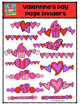 Valentine's Day Page Dividers {P4 Clips Trioriginals Digital Clip Art}