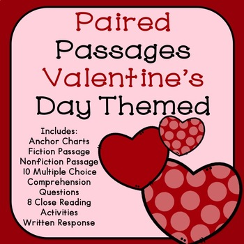 valentine 39 s day paired passages for reading by the tulip teacher teachers pay teachers. Black Bedroom Furniture Sets. Home Design Ideas