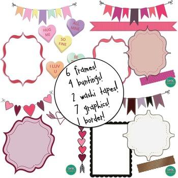 Digital Paper and Frame Bundle- Valentine's Day