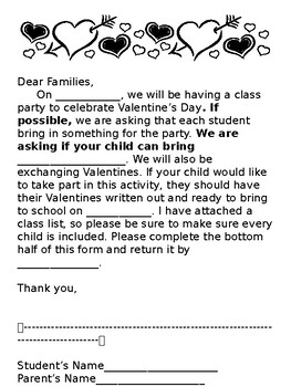 Valentine's Day Parent Letter