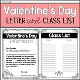 Valentine's Day Parent Letter and Class List