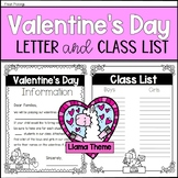 Valentine's Day Editable Parent Letter and Class List (Lla