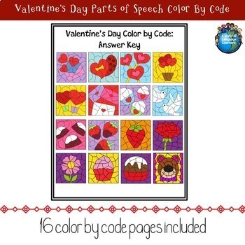 Valentine's Day Parts of Speech Color By Code