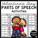 Valentine's Day Parts of Speech Cut & Paste Activities- Nouns, Adjectives, Verbs