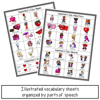 Valentine's Day Parts of Speech Illustrated Vocabulary Sheets
