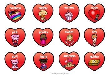 Valentine's Day Parts of Speech - Nouns Verbs and Adjectives Sort
