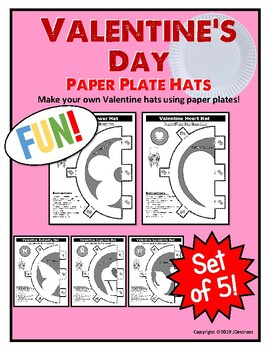 Valentine's Day Party Activity Paper Plate Hats - Set of 5!