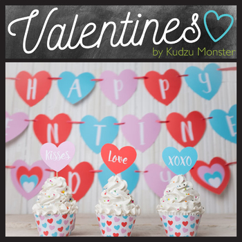 Valentine's Day Party Kit with Banner, Cupcake Toppers, and Cupcake Wrappers