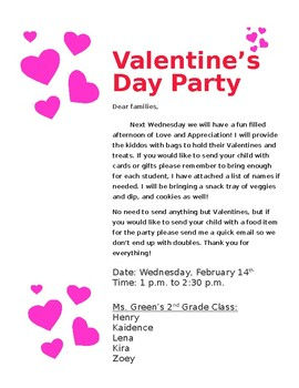 Valentine's Day Party Letter