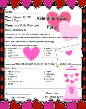 Valentine's Day Party Letter For Parents