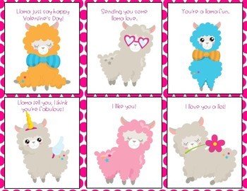 Valentine's Day Party Llama Cards