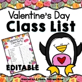 EDITABLE Valentine's Day Class List and Party Information
