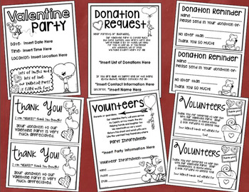 Valentine's Day Party Starter Pack Templates, Forms and Stations EDITABLE