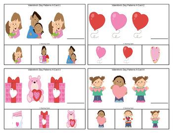Valentine's Day Patterns Task Clip Cards FREEBIE