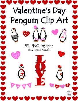 Valentine's Day Penguin Clip Art and Borders (53 PNG Images)