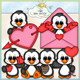Valentine's Day Penguins - CU Clip Art & B&W Set