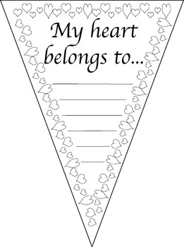 Valentine's Day Pennant * Banner * Flag * Coloring page