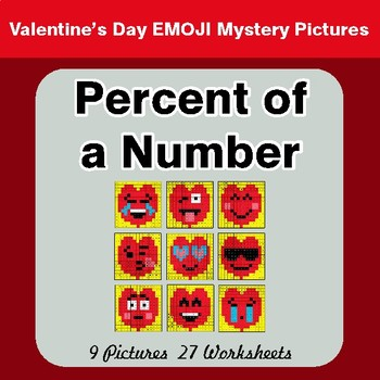 Valentine's Day: Percent of a Number - Color-By-Number Mystery Pictures