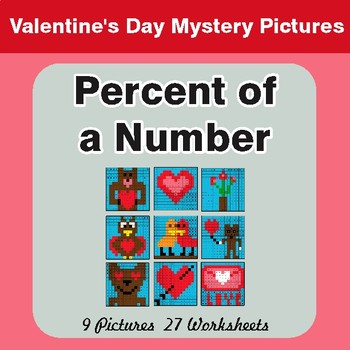 Valentine's Day: Percent of a Number - Color-By-Number Math Mystery Pictures