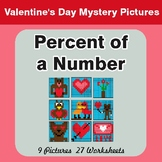 Valentine's Day: Percent of a Number - Color-By-Number Mys